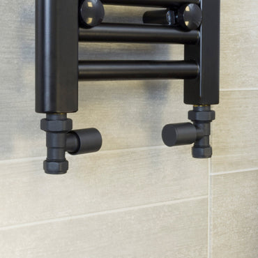 Anthracite Straight Towel Rail Radiator Valve (Pair of 2 Valves) - Elegant Radiators