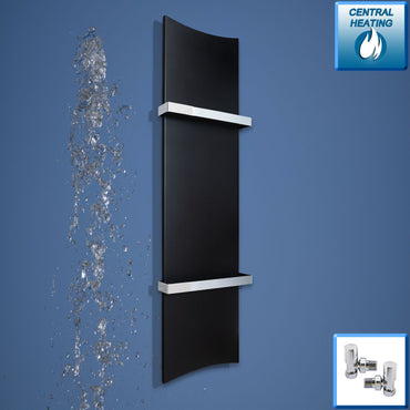 Designer Bone Style 1200 mm High x 300 mm Wide Heated Towel Rail Radiator Black with angled valves