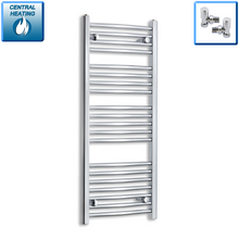 Load image into Gallery viewer, 450mm Wide 1100mm High Chrome Towel Rail Radiator With Angled Valve