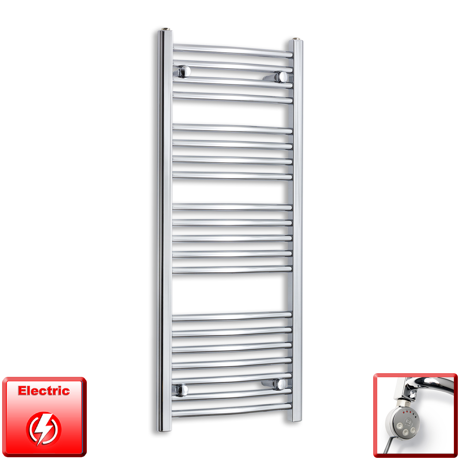 450mm Wide 1100mm High Pre-Filled Chrome Electric Towel Rail Radiator With Thermostatic MEG Element