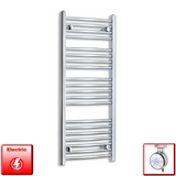 450mm Wide 1100mm High Pre-Filled Chrome Electric Towel Rail Radiator With Thermostatic MOA Element