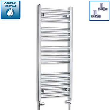 450mm Wide 1100mm High Chrome Towel Rail Radiator With Straight Valve