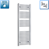 450mm Wide 1300mm High Chrome Towel Rail Radiator With Angled Valve
