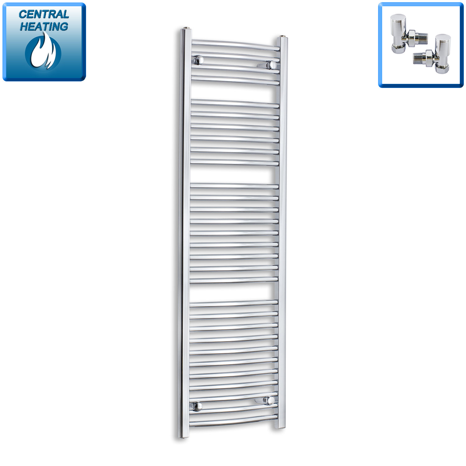 450mm Wide 1500mm High Chrome Towel Rail Radiator With Angled Valve