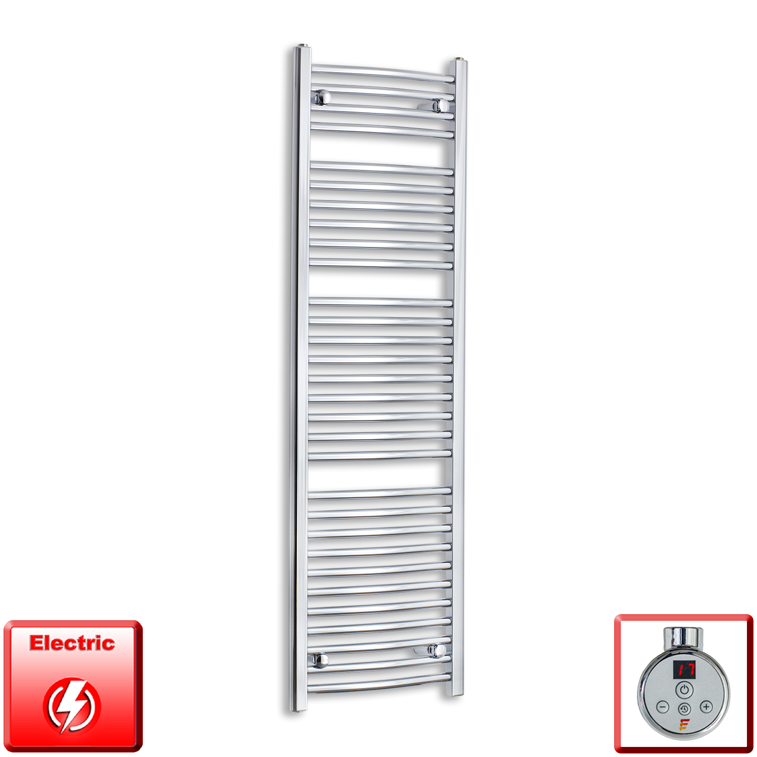 1500mm High 450mm Wide Pre-Filled Electric Heated Towel Rail Radiator Straight or Curved Chrome