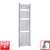 450mm Wide 1500mm High Pre-Filled Chrome Electric Towel Rail Radiator With Thermostatic MEG Element