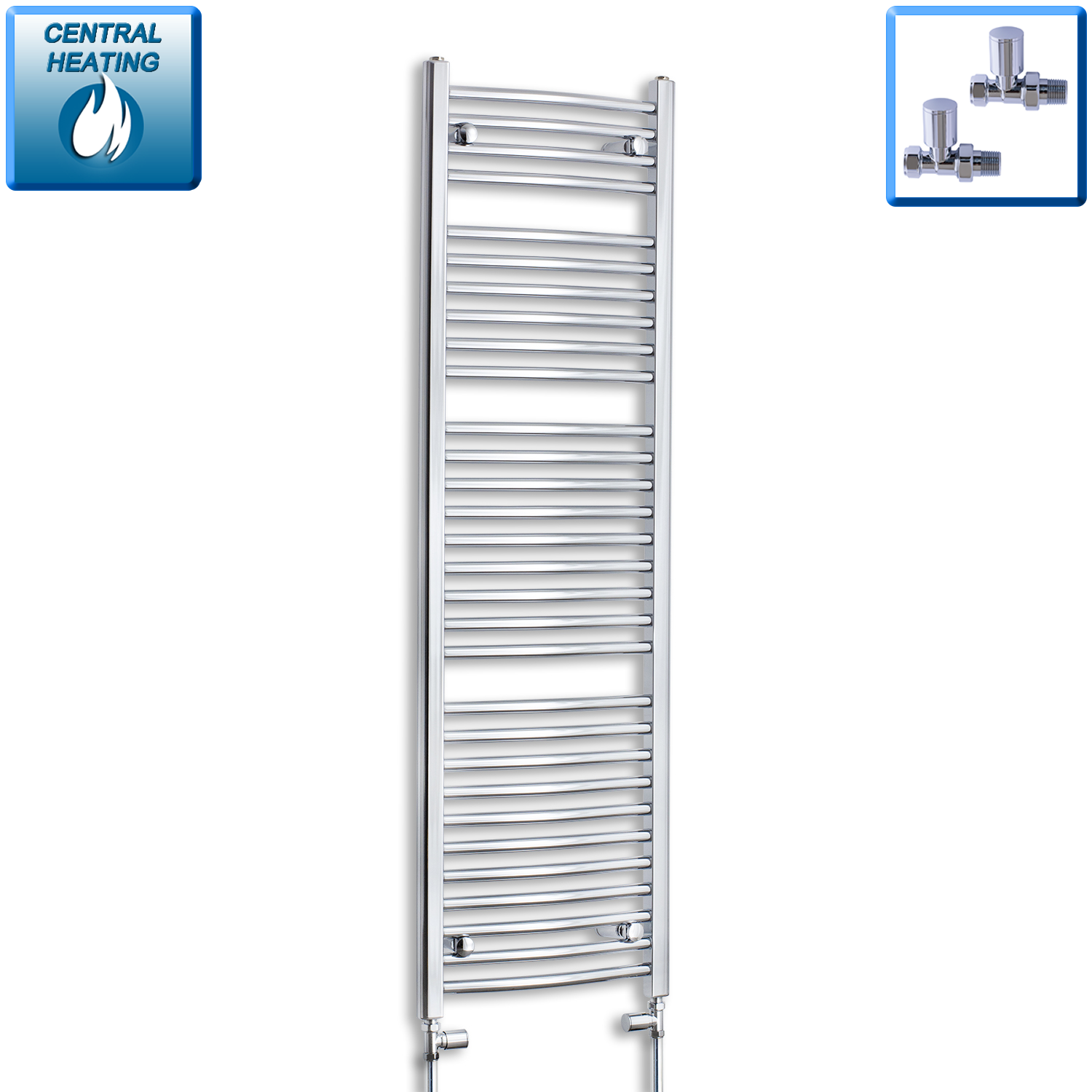 450mm Wide 1500mm High Chrome Towel Rail Radiator With Straight Valve