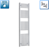 450mm Wide 1700mm High Curved Chrome Towel Rail Radiator With Angled Valve