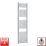 1700mm High 450mm Wide Pre-Filled Electric Heated Towel Rail Radiator Straight or Curved Chrome