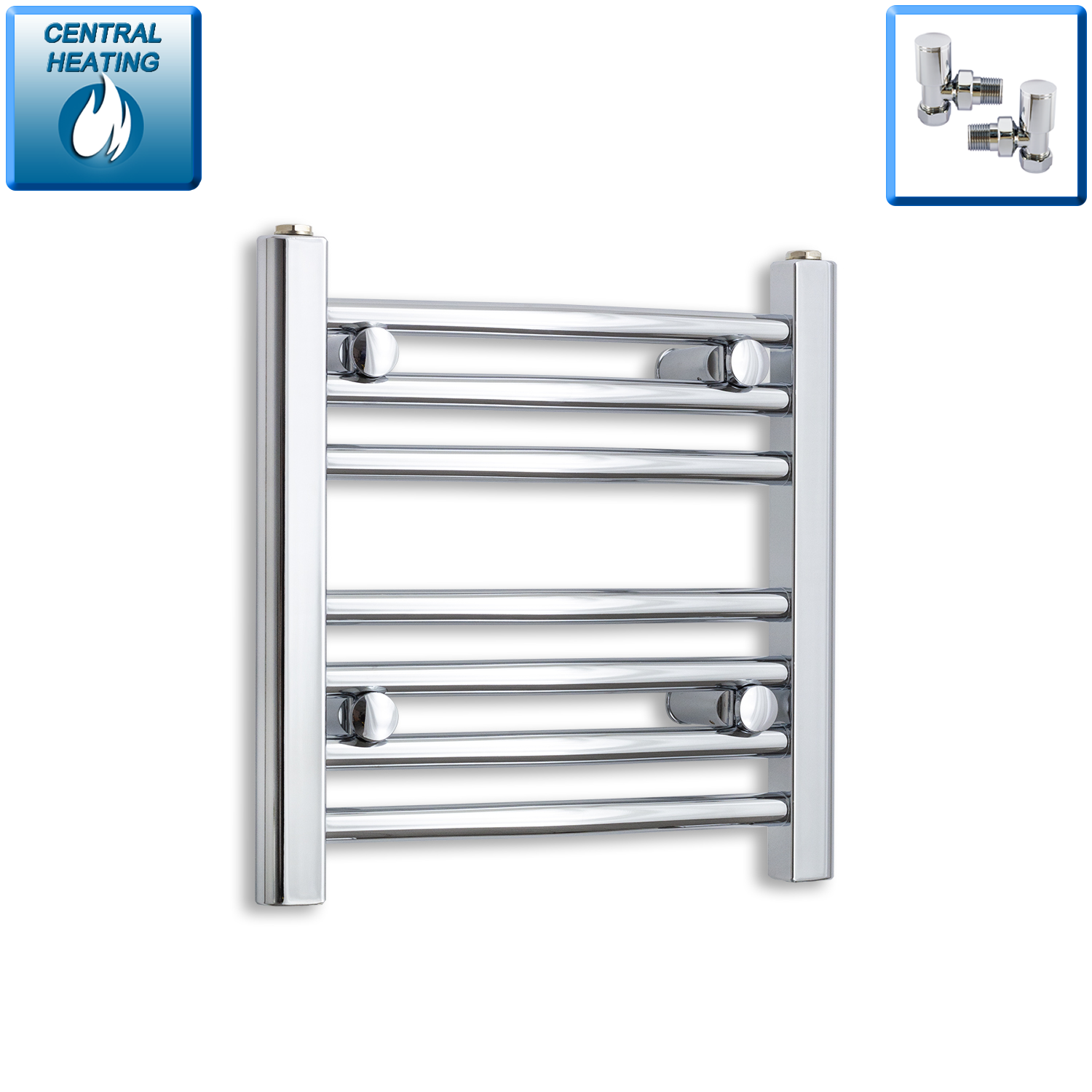 500mm Wide 400mm High Chrome Towel Rail Radiator With Angled Valve