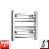 400mm Wide 400mm High Pre-Filled Chrome Electric Towel Rail Radiator With Thermostatic MEG Element