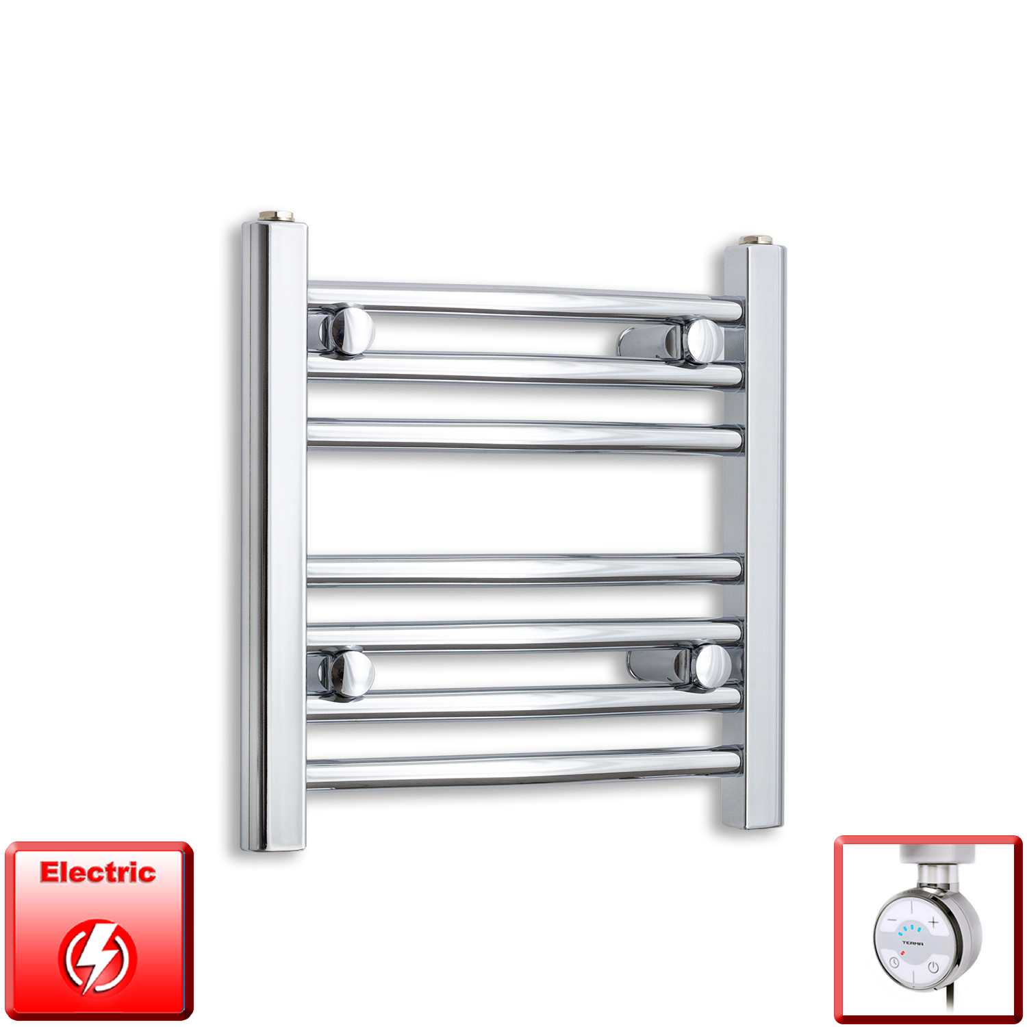 400mm Wide 400mm High Pre-Filled Chrome Electric Towel Rail Radiator With Thermostatic MOA Element