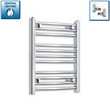 400mm Wide 600mm High Chrome Towel Rail Radiator With Angled Valve