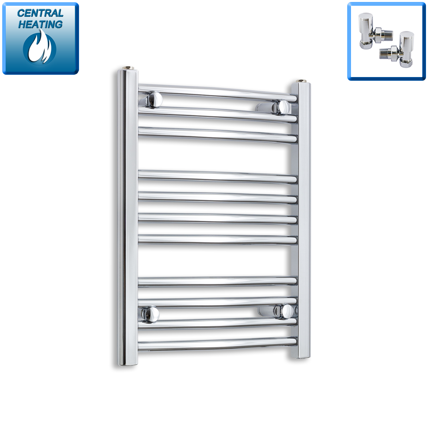 450mm Wide 600mm High Chrome Towel Rail Radiator With Angled Valve