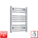 450mm Wide 600mm High Pre-Filled Chrome Electric Towel Rail Radiator With Thermostatic MOA Element