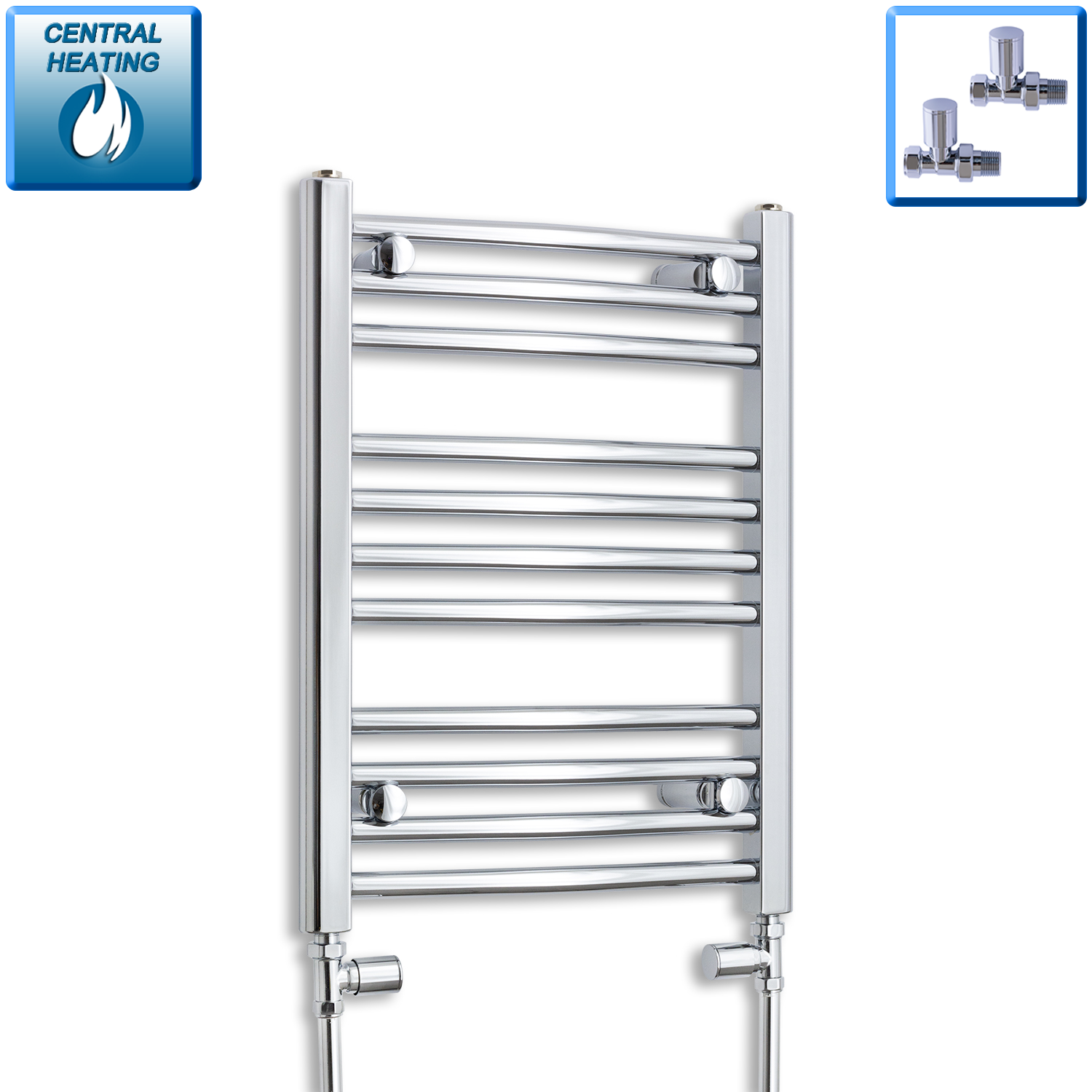 450mm Wide 600mm High Chrome Towel Rail Radiator With Straight Valve