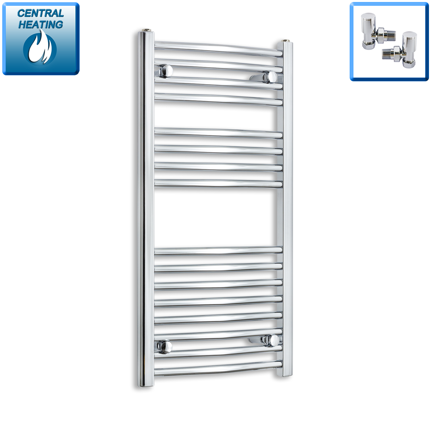 450mm Wide 900mm High Chrome Towel Rail Radiator With Angled Valve