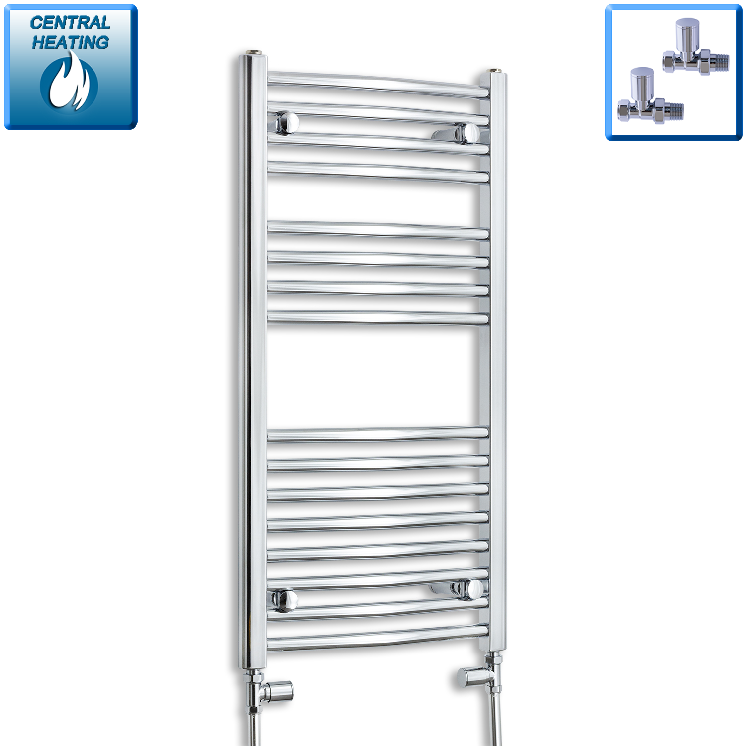 450mm Wide 900mm High Chrome Towel Rail Radiator With Straight Valve