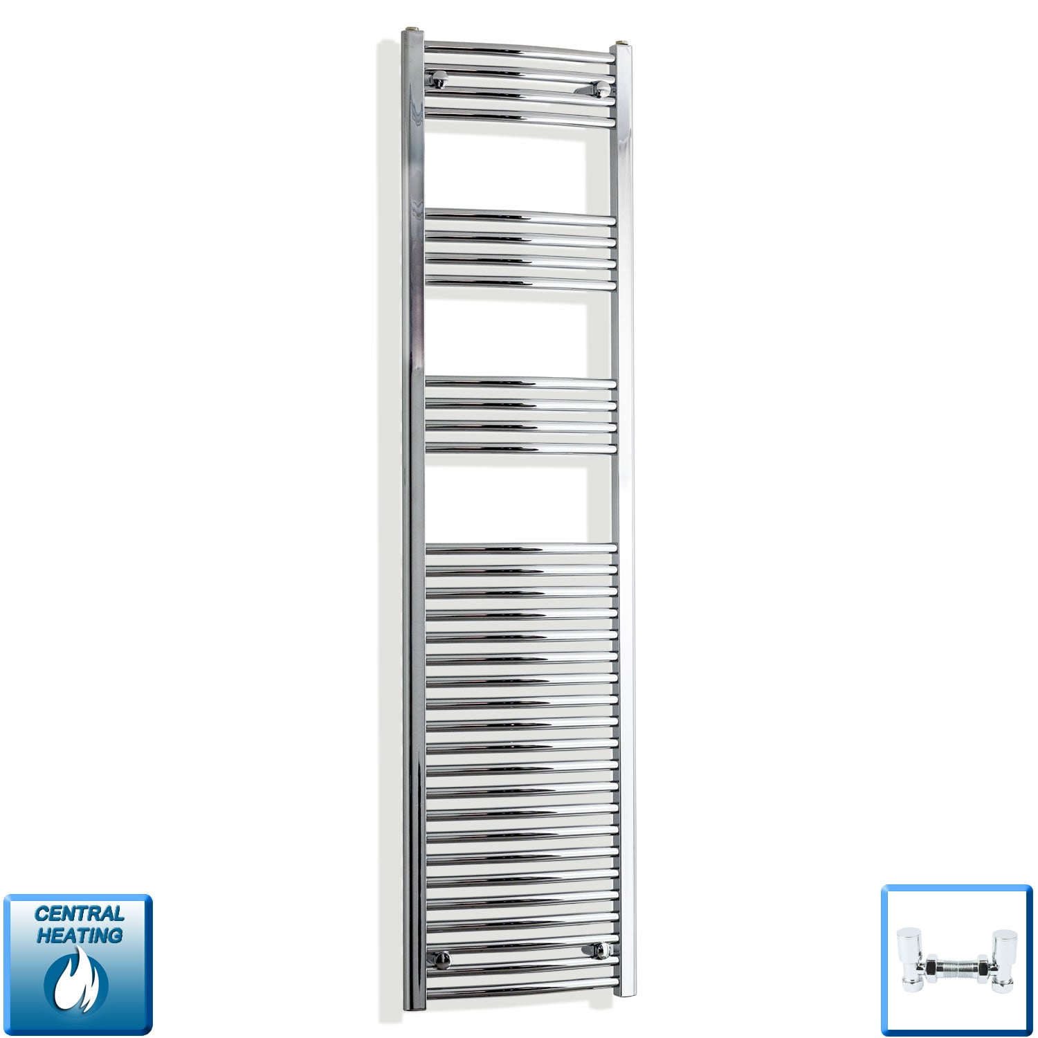 450mm Wide 1800mm High Chrome Towel Rail Radiator With Angled Valve