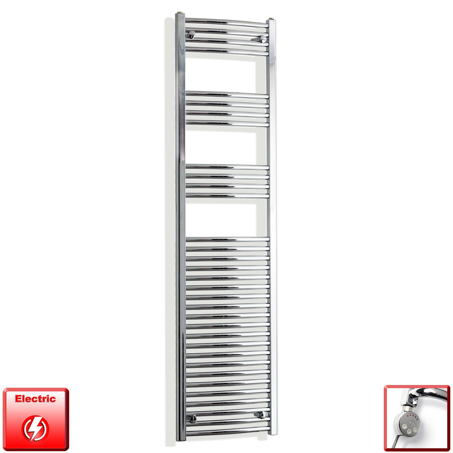 450mm Wide 1800mm High Pre-Filled Chrome Electric Towel Rail Radiator With Thermostatic MEG Element