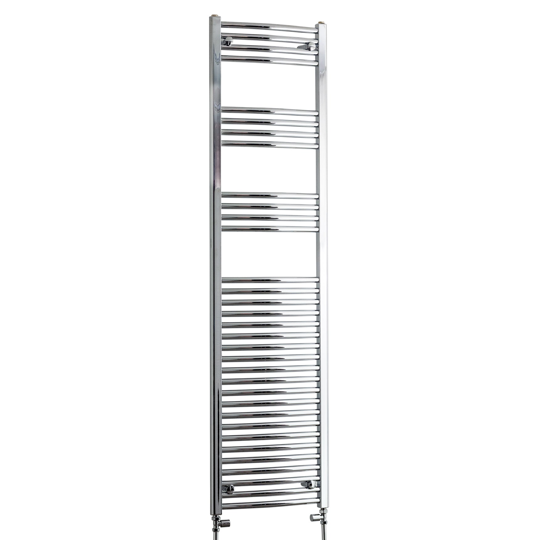 450mm Wide 1800mm High Chrome Towel Rail Radiator With Straight Valve