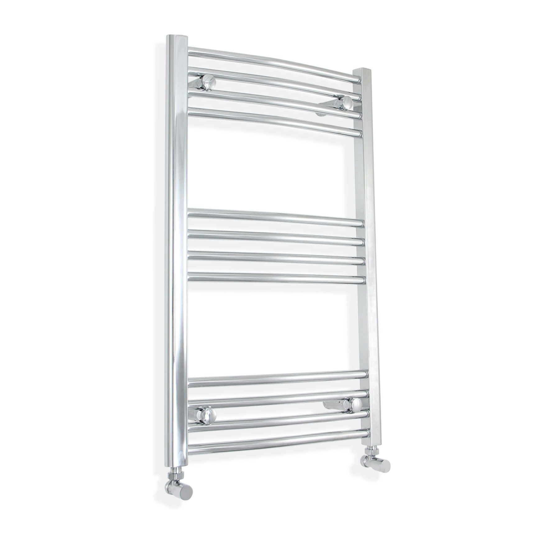 600mm Wide 800mm High Curved Chrome Towel Rail Radiator With Angled Valve