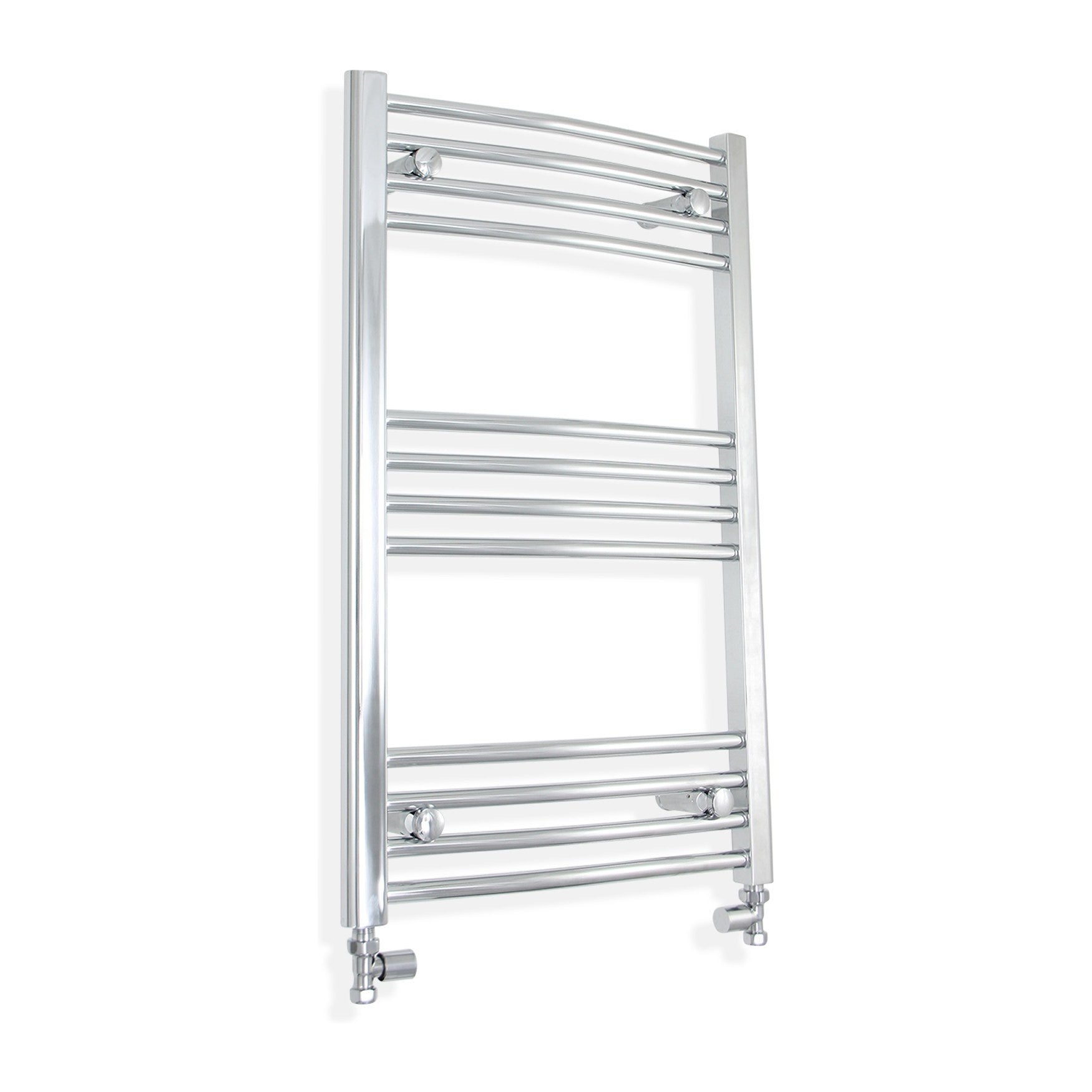 600mm Wide 800mm High Curved Chrome Towel Rail Radiator With Straight Valve