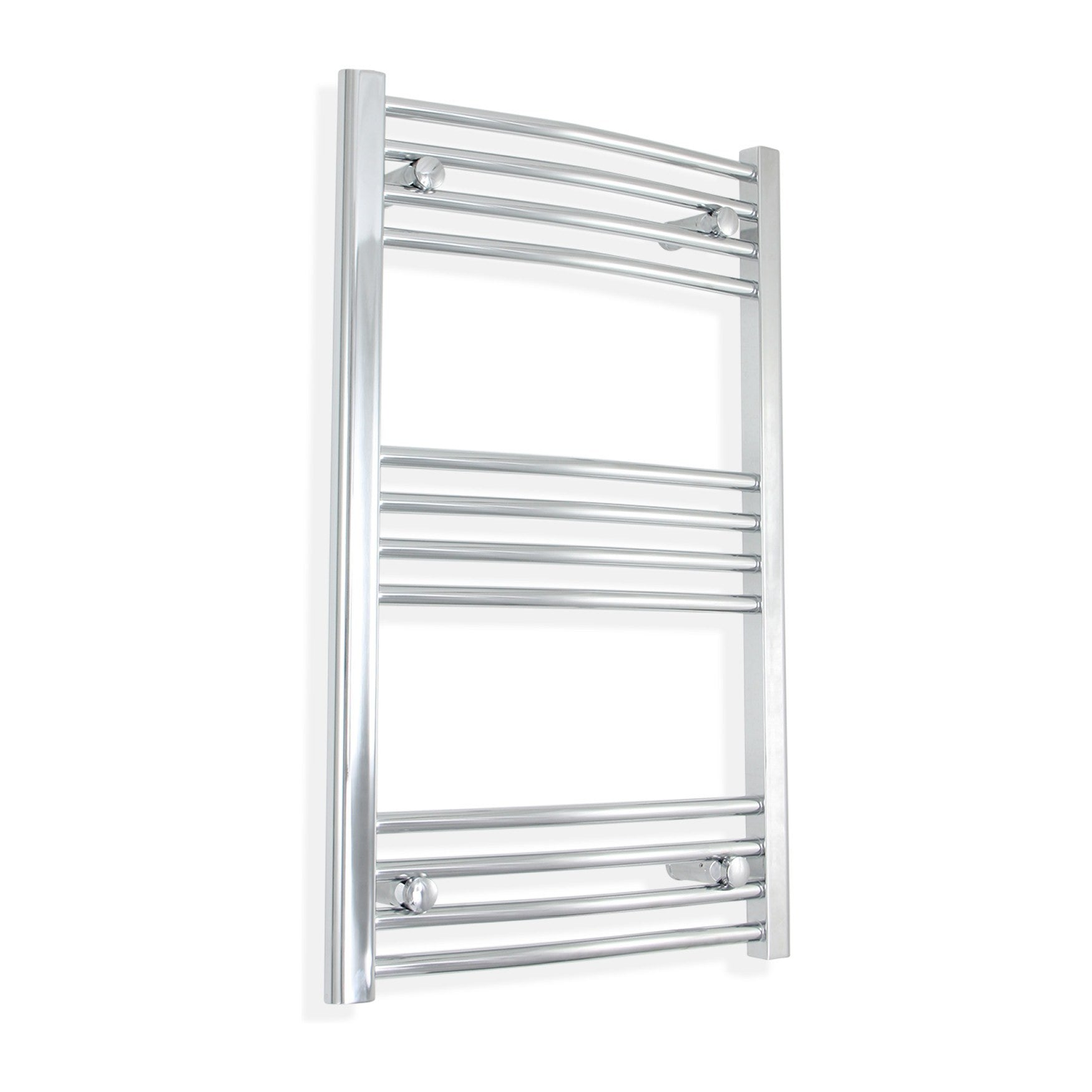 600mm Wide 800mm High Curved Chrome Towel Rail Radiator