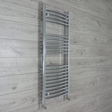 1200 mm High 500 mm Wide Heated Curved Towel Rail Radiator Chrome Dual Fuel Ready angled Valves