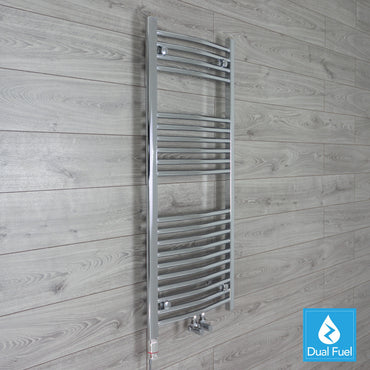 1200 mm High 500 mm Wide Heated Curved Towel Rail Radiator Chrome Dual Fuel Ready