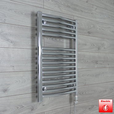 500mm Wide 760mm High Pre-Filled Chrome Electric Towel Rail Radiator With Thermostatic GT Element