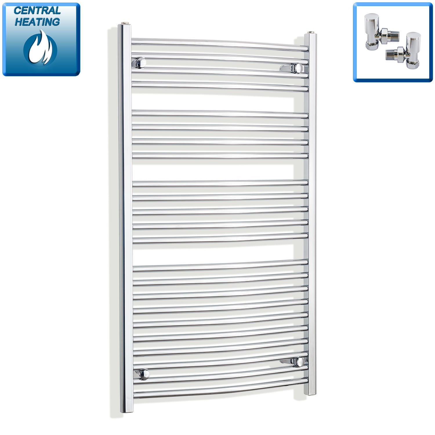 700mm x 1200mm High Curved Chrome Towel Rail Radiator With Angled Valve
