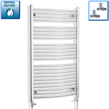 700mm x 1200mm High Curved Chrome Towel Rail Radiator With Straight Valve
