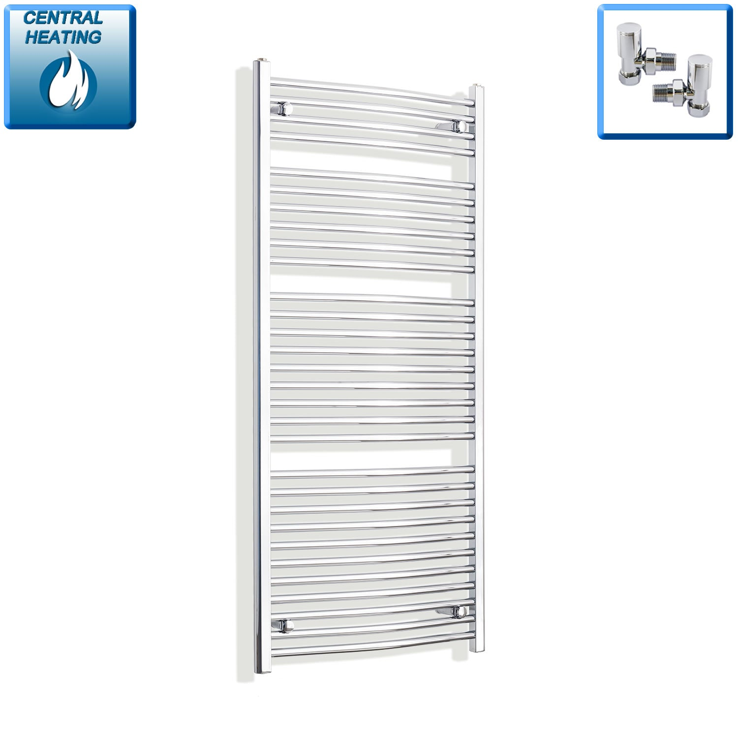 750mm x 1500mm High Curved Chrome Towel Rail Radiator With Angled Valve