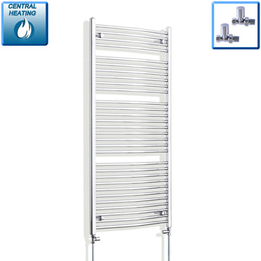 700mm Wide 1500mm High Chrome Towel Rail Radiator With Straight Valve