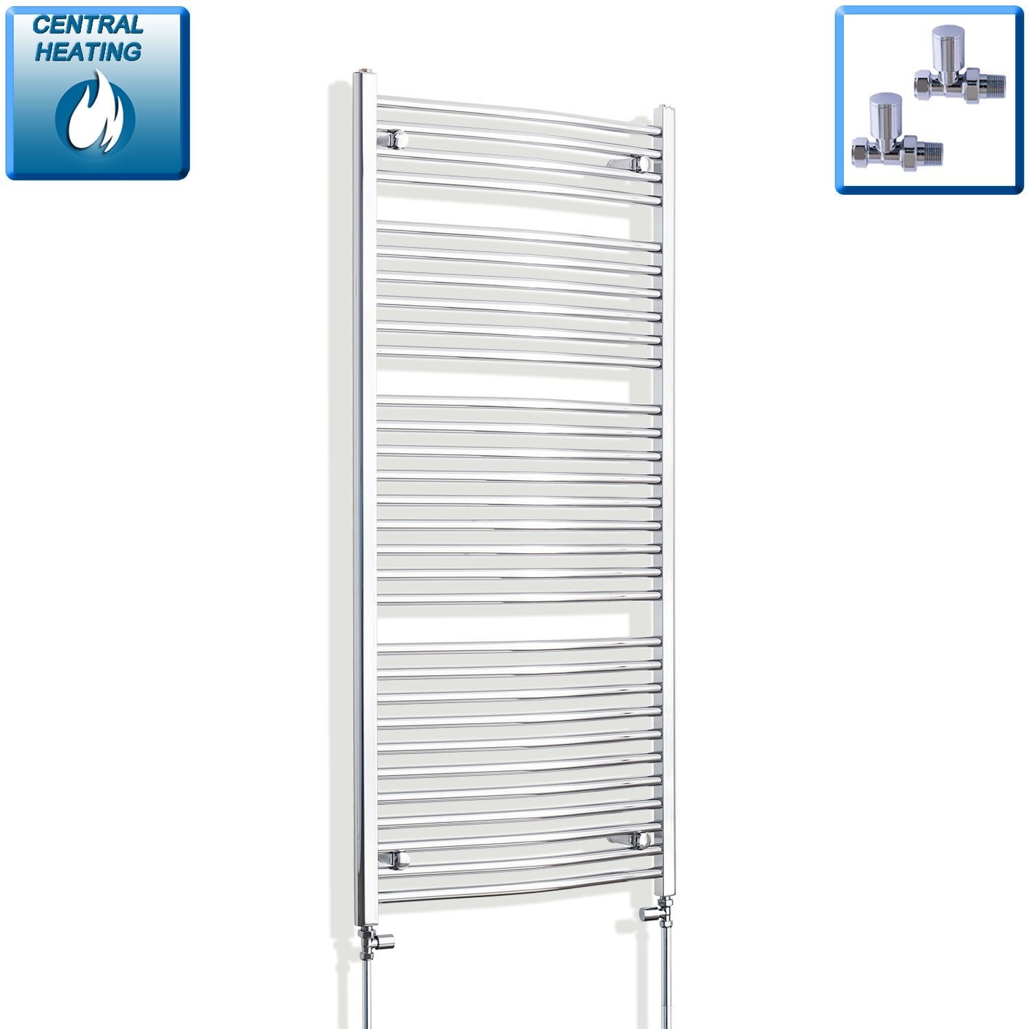 750mm x 1500mm High Curved Chrome Towel Rail Radiator With Straight Valve