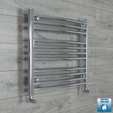 Load image into Gallery viewer, 700mm Wide 600mm High Chrome Towel Rail Radiator With Angled Valve