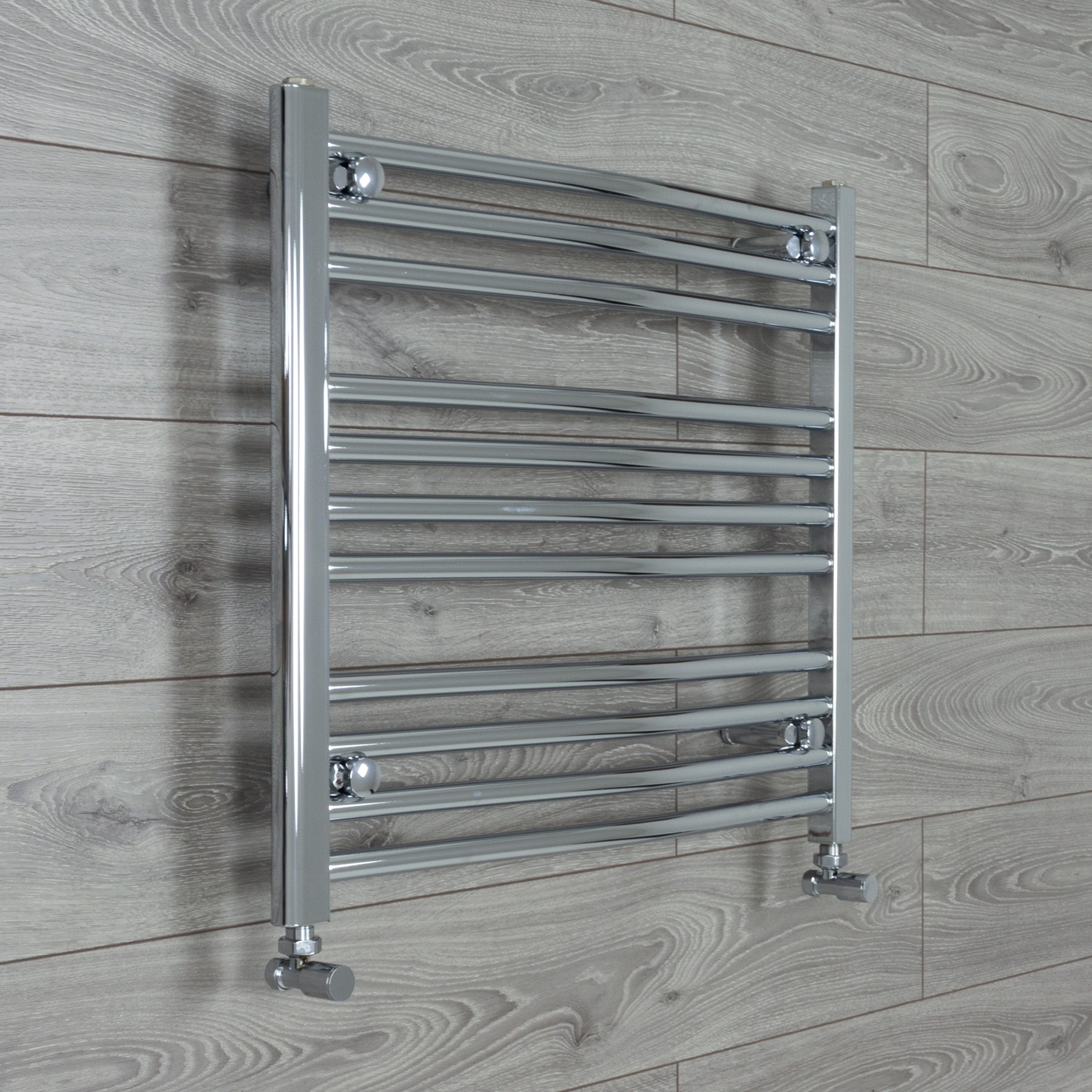 750mm x 600mm High Curved Chrome Towel Rail Radiator With Angled Valve