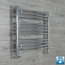 Load image into Gallery viewer, 700mm Wide 600mm High Chrome Towel Rail Radiator With Straight Valve