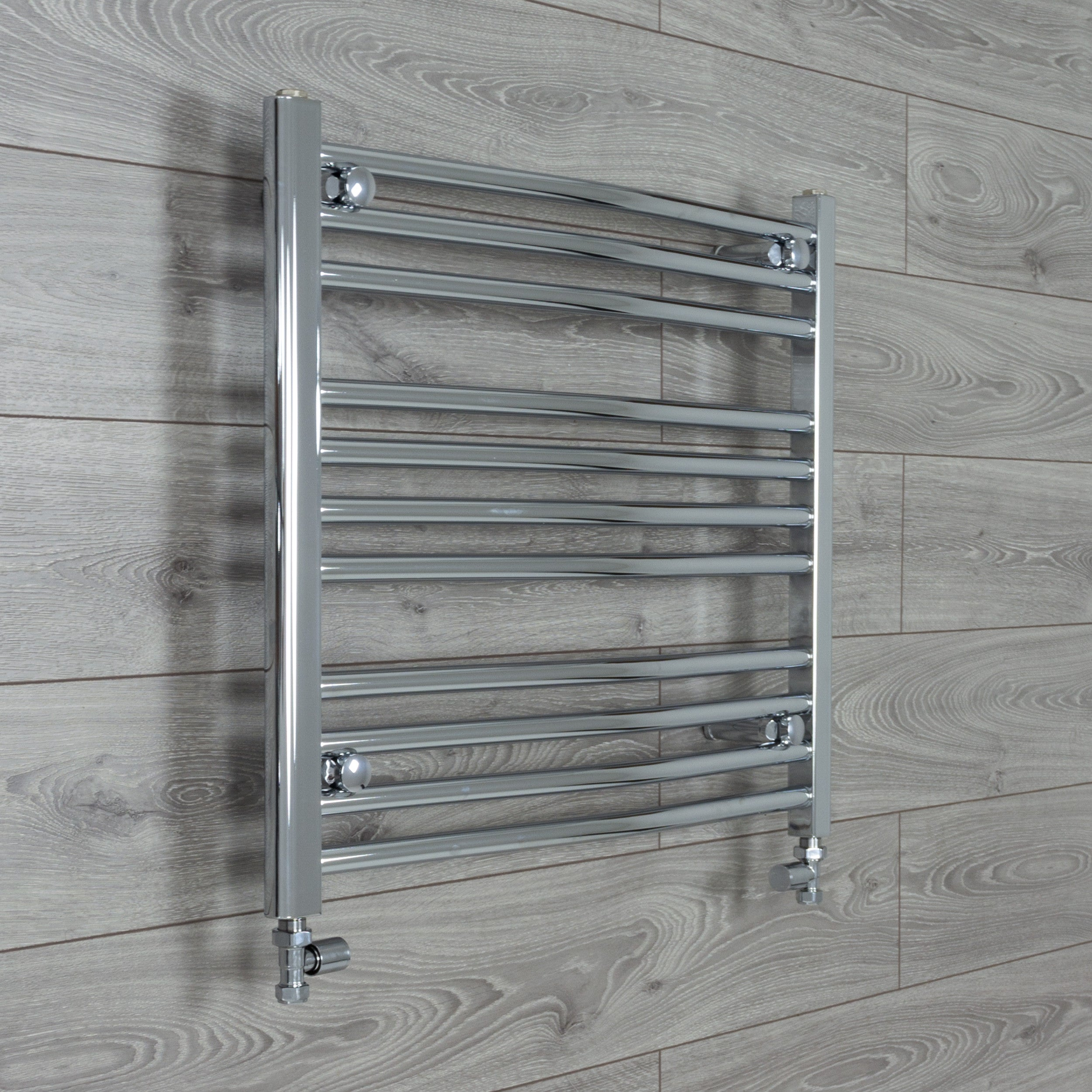 750mm x 600mm High Curved Chrome Towel Rail Radiator With Straight Valve