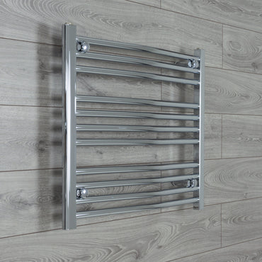 750mm x 600mm High Curved Chrome Towel Rail Radiator
