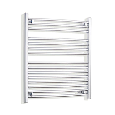 700mm x 800mm High Curved Chrome Towel Rail Radiator With Straight Valve