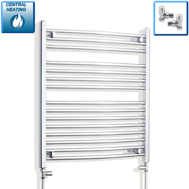 700mm x 800mm High Curved Chrome Towel Rail Radiator With Straight Valve Valve