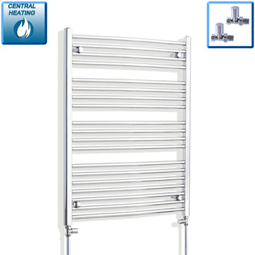 750mm x 1000mm High Curved Chrome Towel Rail Radiator With Straight Valve