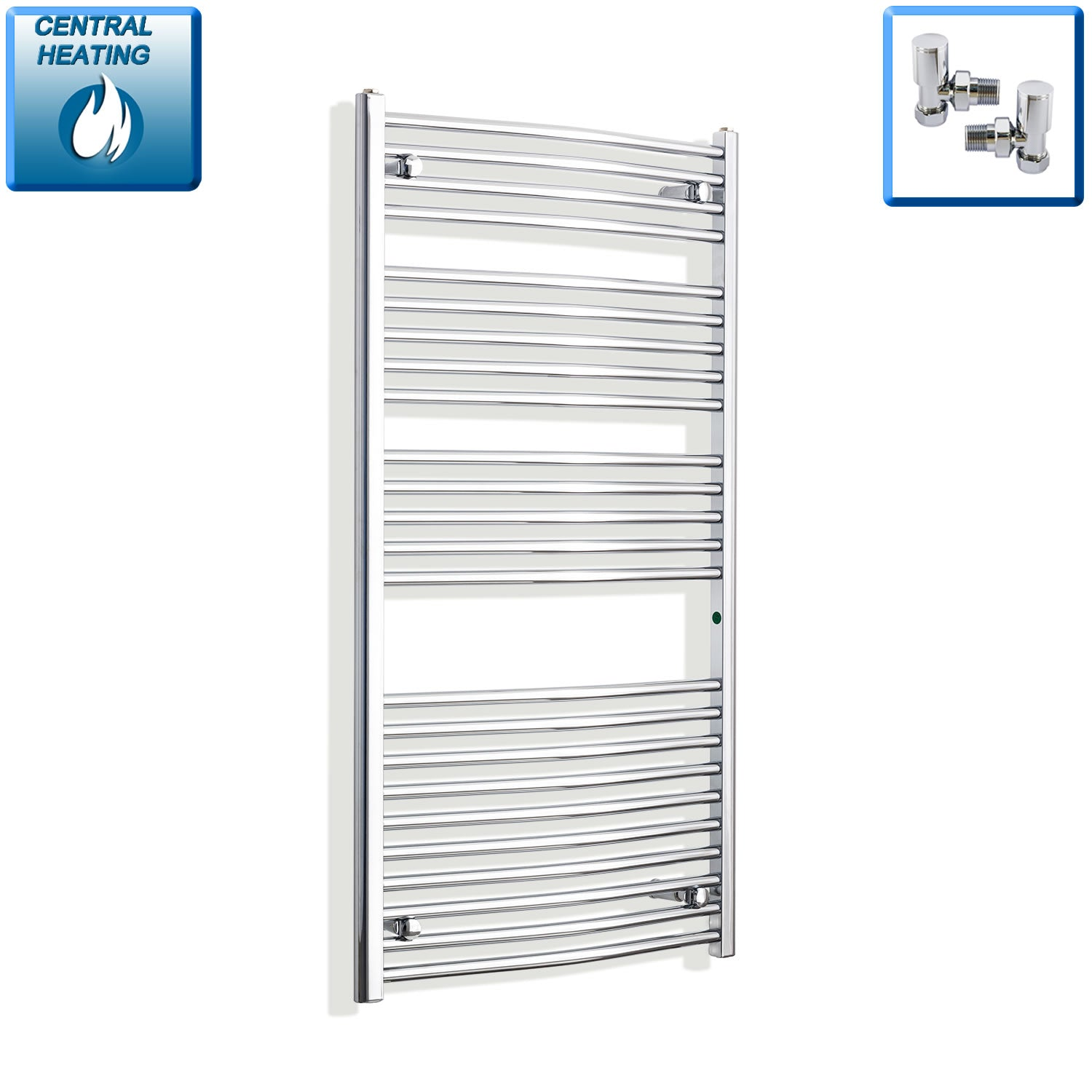 700mm Wide 1300mm High Chrome Towel Rail Radiator With Angled Valve