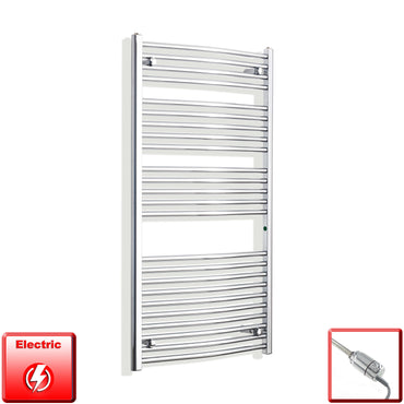 700mm Wide 1300mm High Pre-Filled Chrome Electric Towel Rail Radiator With Thermostatic GT Element