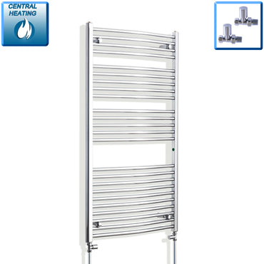 750mm x 1300mm High Curved Chrome Towel Rail Radiator With Straight Valve