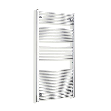 750mm x 1300mm High Curved Chrome Towel Rail Radiator
