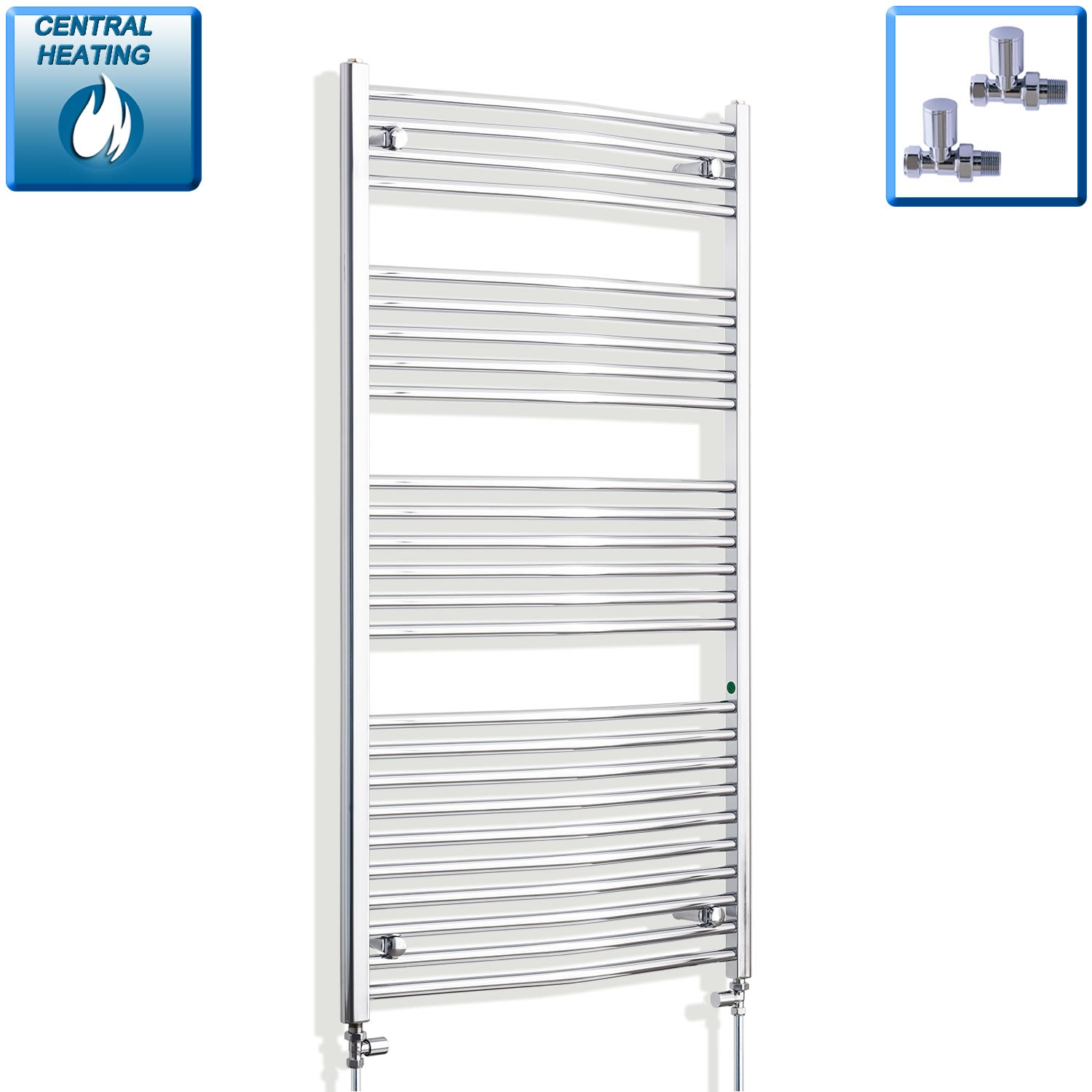 750mm x 1400mm High Curved Chrome Towel Rail Radiator With Straight Valve