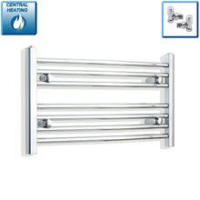 Load image into Gallery viewer, 700mm Wide 400mm High Chrome Towel Rail Radiator With Angled Valve
